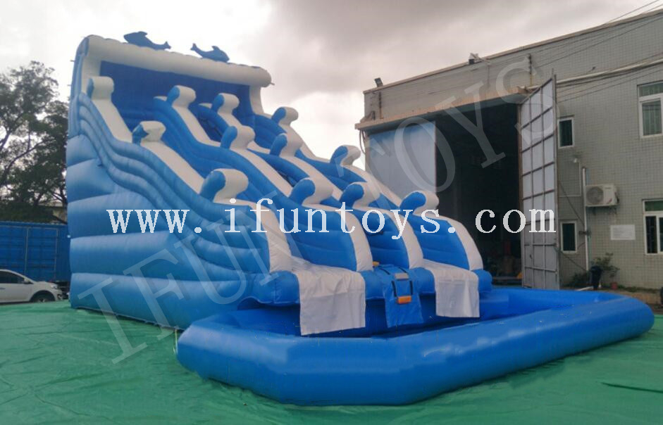 Inflatable Dolphin Water Slide / Double Lanes Slilp Slide with Pool