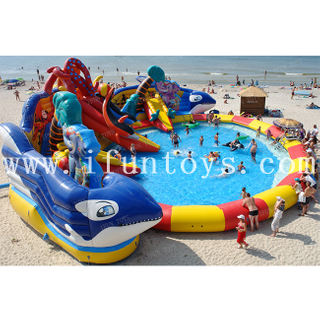 Octopus inflatable water wonderland inflatable aqua play zone undersea world inflatable water fun park for kids and adults