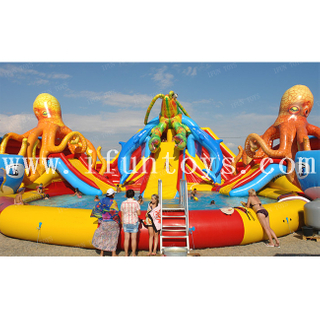 Giant Ocean Octopus inflatable water slide with wading pool inflatable water wonderland water park playground for sale