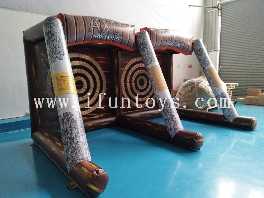 inflatable Triple Axe Throw Extreme Game/carnival Inflatable Targeting Game /Flying Axe Throwing dart sport game