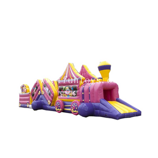 inflatable circus theme train obstacle entrance tunnel /giant inflatable obstacle course/inflatable kids obstacle course