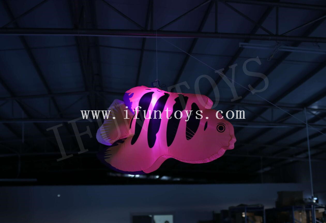 2m Hanging Inflatable Tropical Fish with Led Light for Party Club Decoration