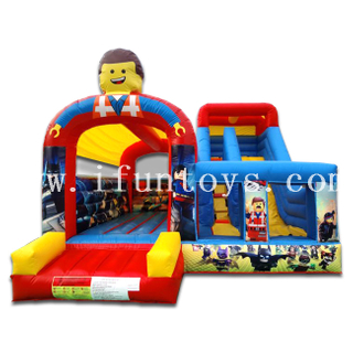 Fun Inflatable Lego City / Lego Bouncer Slide Jumping Bouncy House with Slide