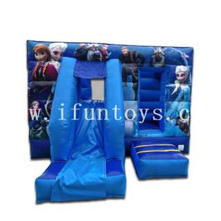 Inflatable Frozen Bounce House Castle / Slide Combo With Air Blower