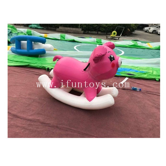 Inflatable Pig Ride Toys Inflatable Children Rocking Horse Inflatable Seesaw Air Sealed Teeterboard
