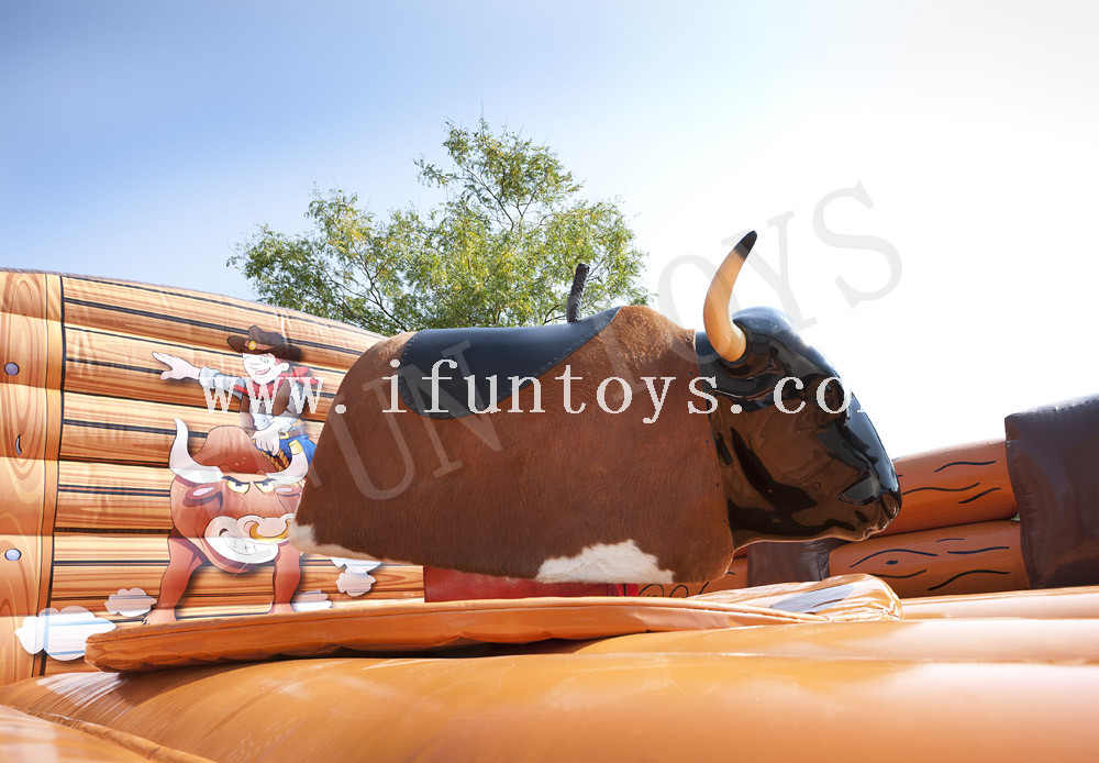 Western-Themed Inflatable Mattress for Mechanical Rodeo Bull / Rodeo Riding Bull Game