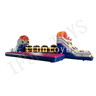 Interactive Game Inflatable Big Baller / Wipeout Leaping Obstacle Challenge Game