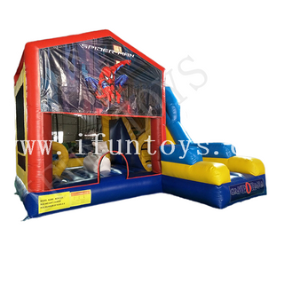 Spiderman Theme Inflatable Kids Play Park / Jumping Bouncy Castle with Slide