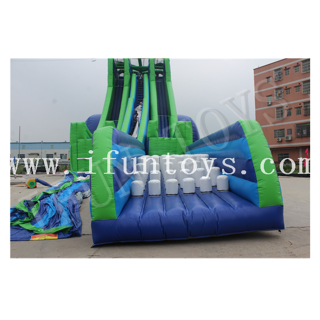 Double Lanes Inflatable Slingshot Wet Slide / Free Fall Slide / Skyscraper Water Slide for Adults