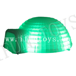 LED Inflatable Igloo Dome Tent with Tunnel / Igloo Playhouse for Outdoor Party Event