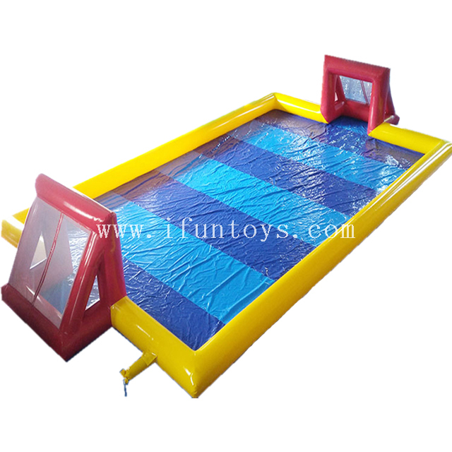 Cheap 20*10 meters inflatable soap soccer field / water soccer field / soapy soccer field with water inside for sale