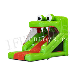 Mini Inflatable Crocodile Slide / Dry / Wet Slide with Air Blower for Kids