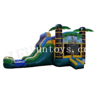 Inflatable Tiki Bouncy Slide / Palm Tree Inflatable Moonwalk Jungle Bounce House