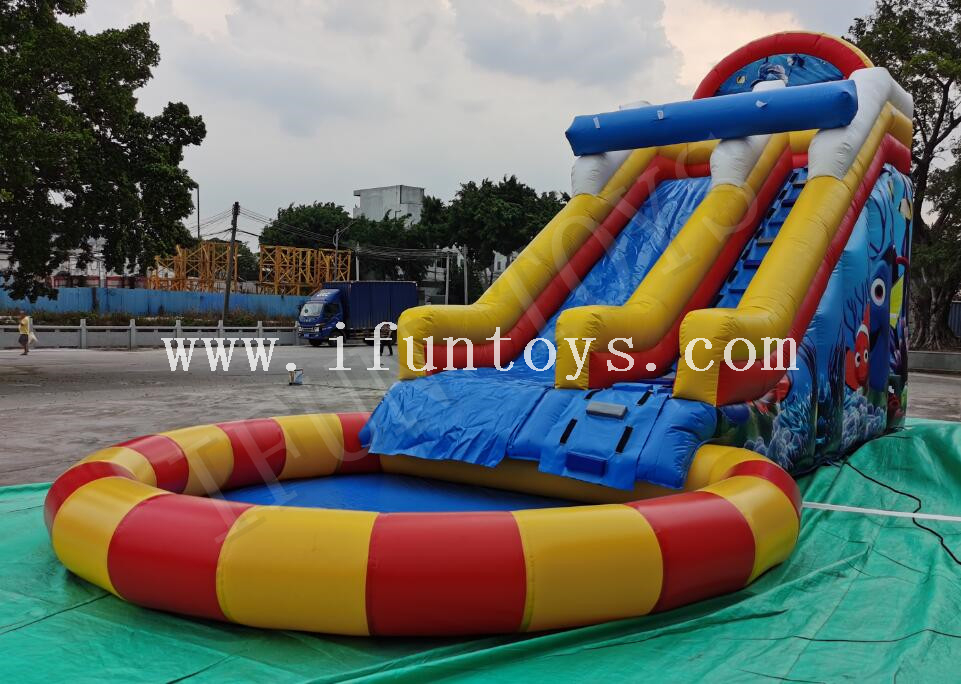 Sea World Theme Inflatable Water Slide with Round Pool for Summer