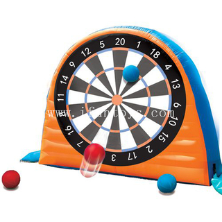 Cheap outdoor 5 Meters High Double Sides Inflatable velcro Soccer Darts / Kick Foot Dart Board football Games for party