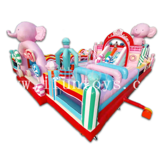 Candy Theme Inflatable Fun City Amusement Park Jumping House Bouncing Paradise Attractions for Toddlers
