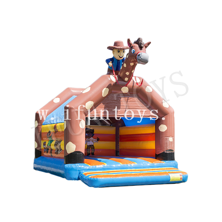 Cowboy Theme Inflatable Jumping Castle / Trampoline Bouncer for Kids