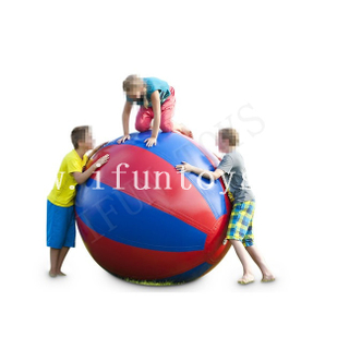 PVC Inflatable Super Ball / Giant Inflatable Colorful Beach Roll Ball for Outdoor Team Building Sport Game