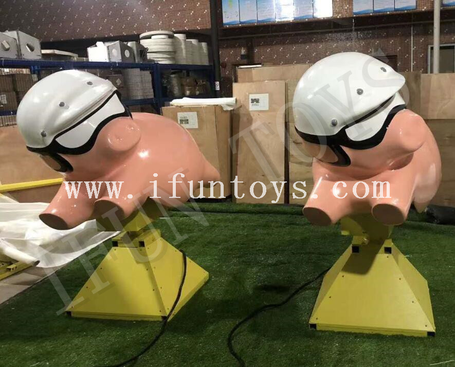 Interactive Inflatable Mechanical Pig / Mechanical Rides Slippery Pig with Inflatable Mattress