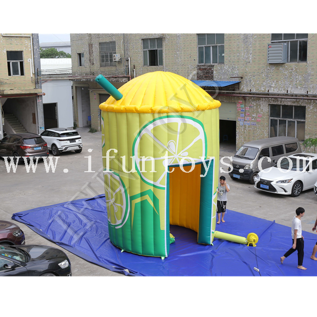 Outdoor Inflatable Lemonade Booth Stand / Lemonade Bar Tent with Air Blower