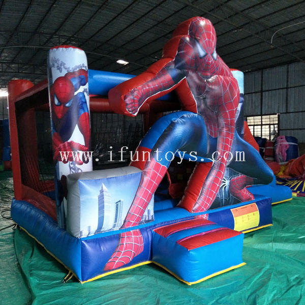 Cheap inflatable spiderman bounce slide combo / jumping castle with slide / bouncy slide for toddlers