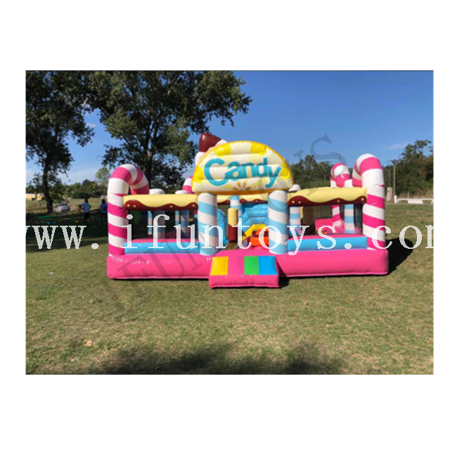 Inflatable Candy Jumping House / Candy Bouncer Castle Inflatable Playhouse for Kids