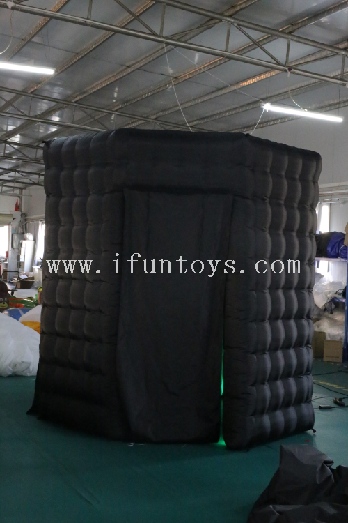 Led Lighting Wedding octagonal Inflatable black Photo Booth /inflatable photo booth enclosure for sale