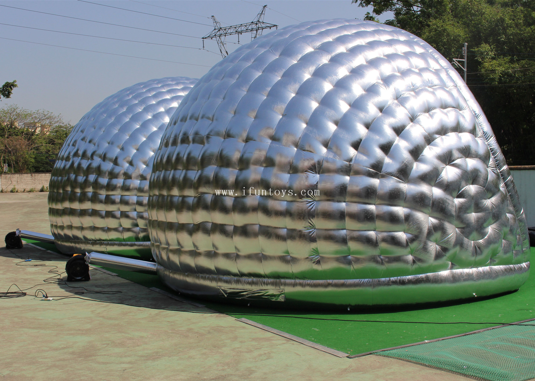 Customized Inflatable silver Luna Pods air dome tent/pop up pod tent /Inflatable Structure Dome tent for events