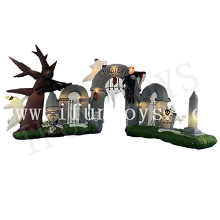 Inflatable Halloween Cemetery Arch / Inflatable Graveyard Archway with LED Light for Halloween Decoration