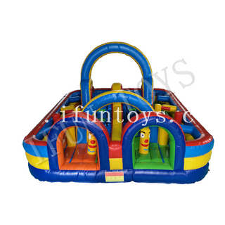 Inflatable Obstacle Course Outdoor Playground / Fun City Jumping Castle with Air Blower