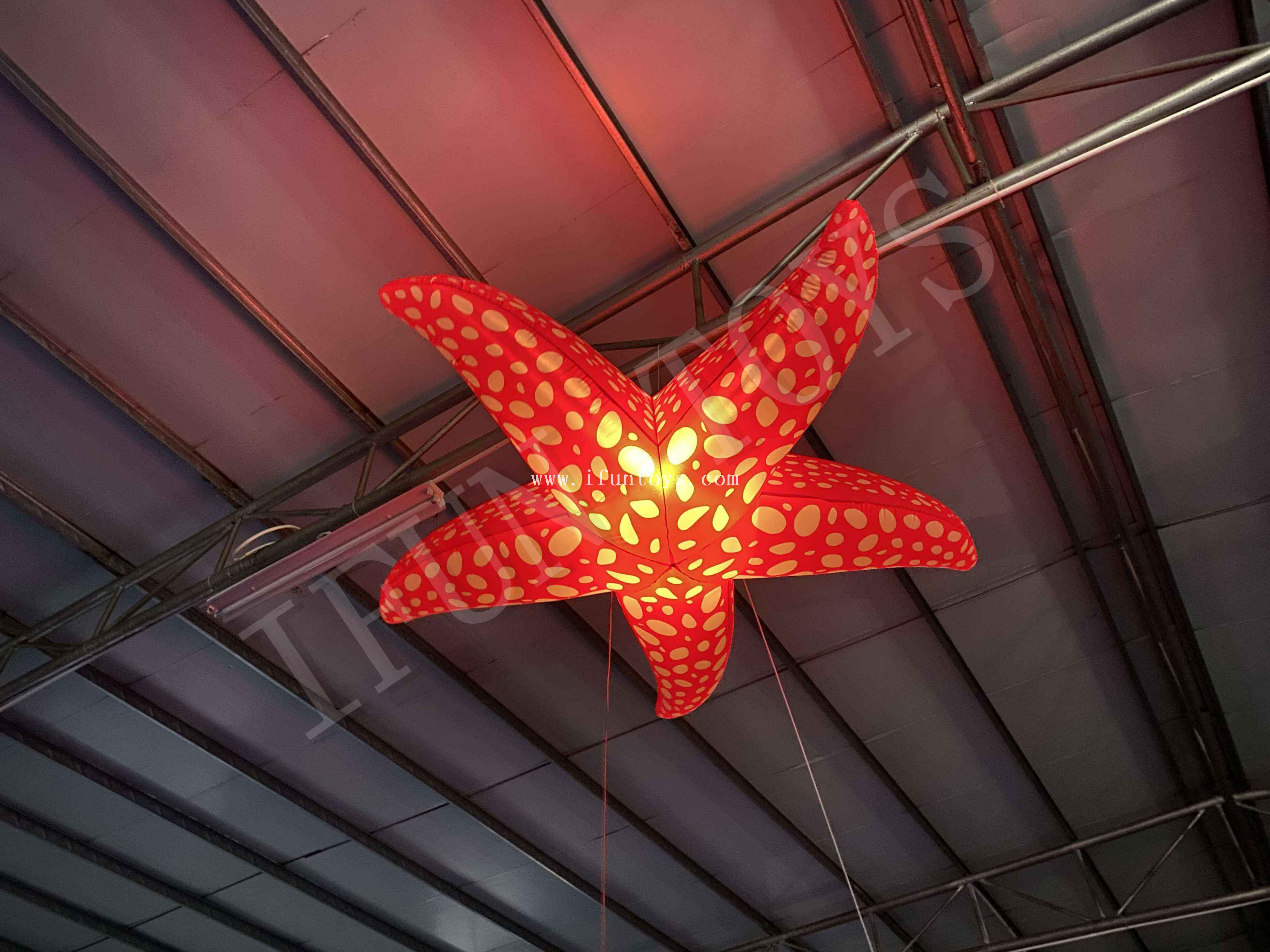 Inflatable Starfish Balloon / LED Lighting Inflatable Sea Animal Ceiling Decoration for Party