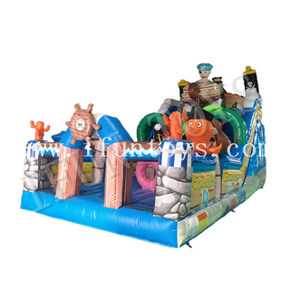 Pirate Theme Inflatable Slide Bounce House /Inflatable Pirate Ship Funcity / Amusement Park Playground