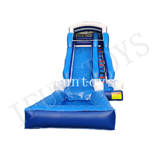 Inflatable Blue Water Slide with Pool for Adults