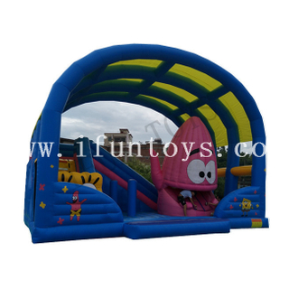 Spongebob And Patrick Star Inflatable Fun City / Bouncer Castle Inflatable Amusement Park for Kids