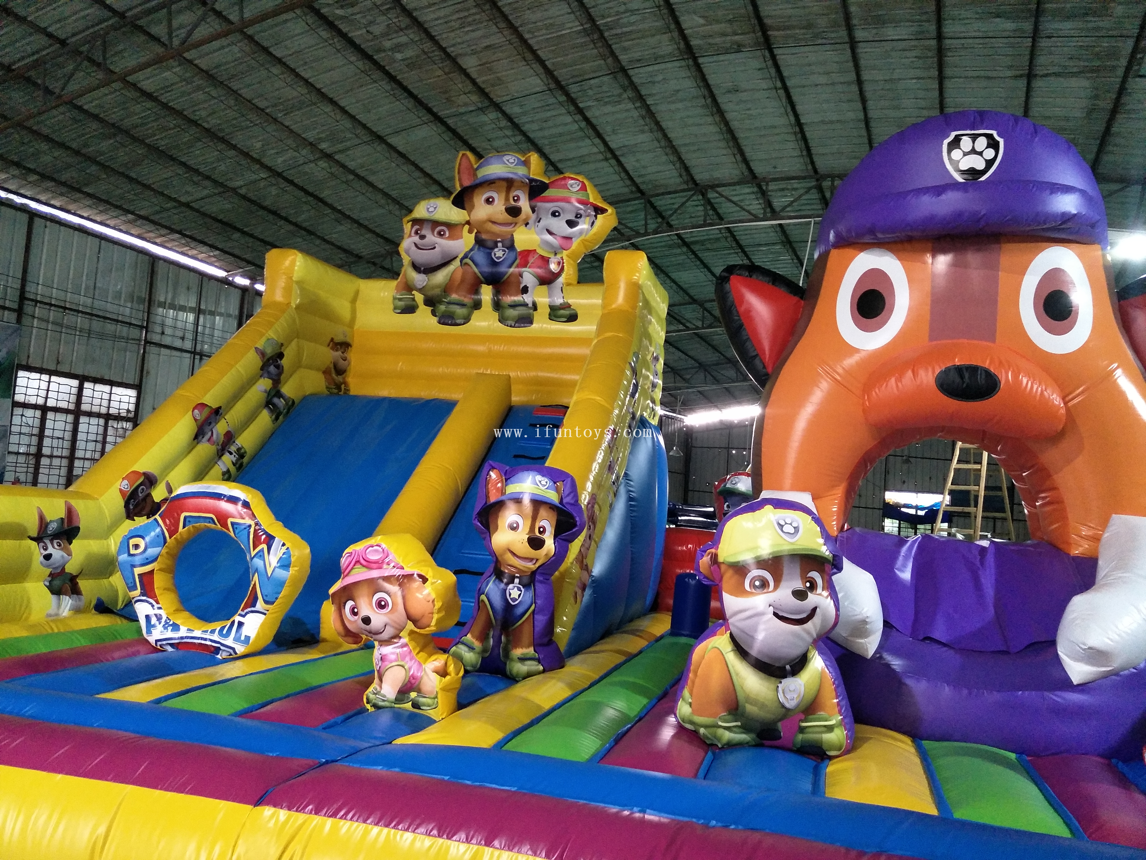 New design fire dog belly theme fun city with slide/ inflatable bouncy castle playground/ inflatable amusement park for sale