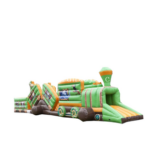 Commercial Inflatable safari Train Climb Tunnel Obstacle Course Bounce House/inflatable train obstacles racing for sale