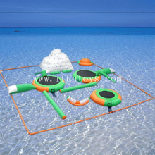 Sea inflatable floating aquapark water paradise island for summer playing