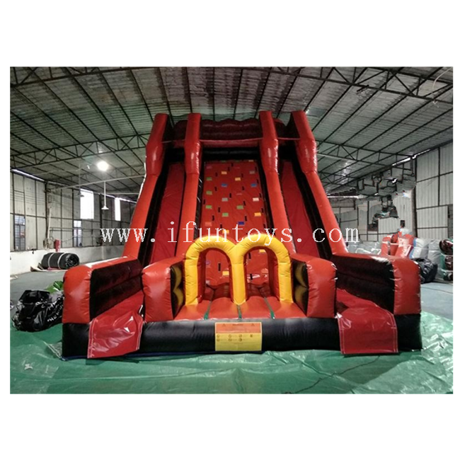 Vertical Rush Inflatable Slides with Rock Wall / Inflatable Climbing Wall with Dry Slide for Adults And Kids