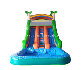 Jungle theme inflatable slide with pool/inflatable double lane rainforest water slide/inflatable slip n slide for kids