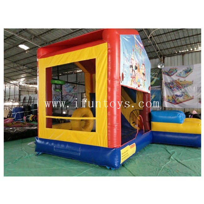 Birthday Party Inflatable Bounce House Combo with Slide / Kids Inflatable Playground with Basketball Hoop And Horse Riding