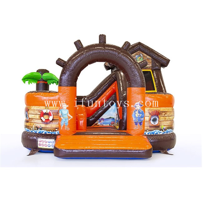 Inflatable Fun City Pirate Combo / Inflatable Pirate Bouncy / Inflatable Pirate Ship with Slide for Kids