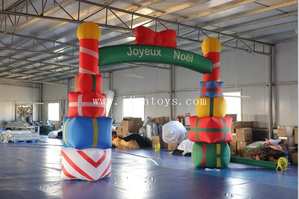 Outdoor gift box design inflatable christmas arch /Inflatable advertising Christmas Archway for holiday decoration