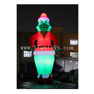 8.5m Tall Inflatable LED Grinch / Giant Inflatable Christmas Grinch for Outdoor Decoration