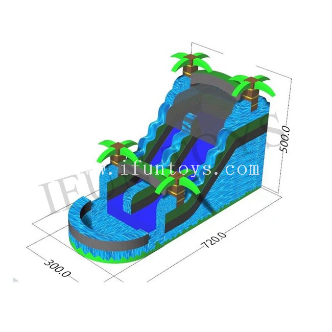 Tropical Palm Tree Inflatable Water Slide with Small Pool / Cheap Inflatable Slip N Slide