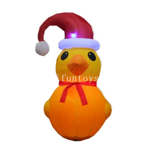 2m Tall Inflatable Yellow Duck for Christmas / LED Light Inflatable Rubber Duck with Christmas Hat