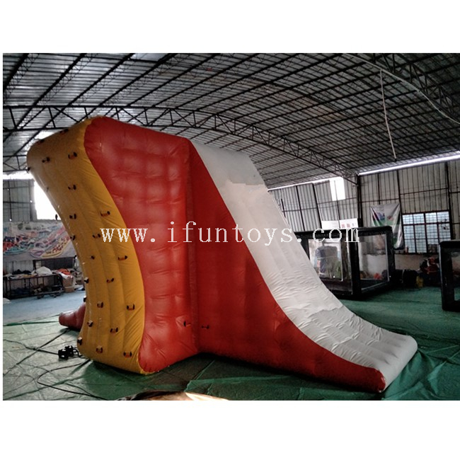 ​Giant Inflatable Floating Water Jumping Tower / Aqua Action Tower with Slide And Climbing Wall for Water Park