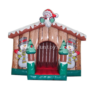 Inflatable Christmas Jumping Bouncy House / Inflatable Santa Grotto / Inflatable Log Cabin for Xmas Decoration