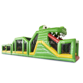 Outdoor Inflatable Crocodile Obstacle Course / Obstacles Running Race / Adult Challenge Inflatable Obstacle Course