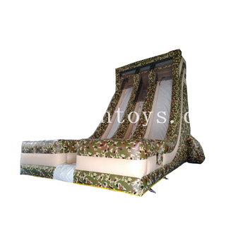 Commercial Camouflage military army Inflatable Water Slide /inflatable dry slide/inflatable double lane slide for kids